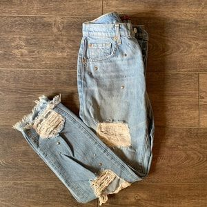 7 for All Mankind Distressed Studded Jeans